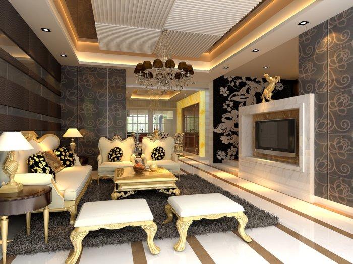 客厅吊顶装修图-3d模型库-3d侠3d模型下载网
