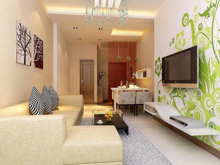 客厅手绘影视墙渲染效果图片