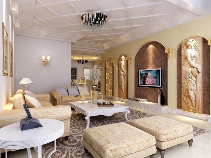 歐式家居客廳影視墻設計效果圖