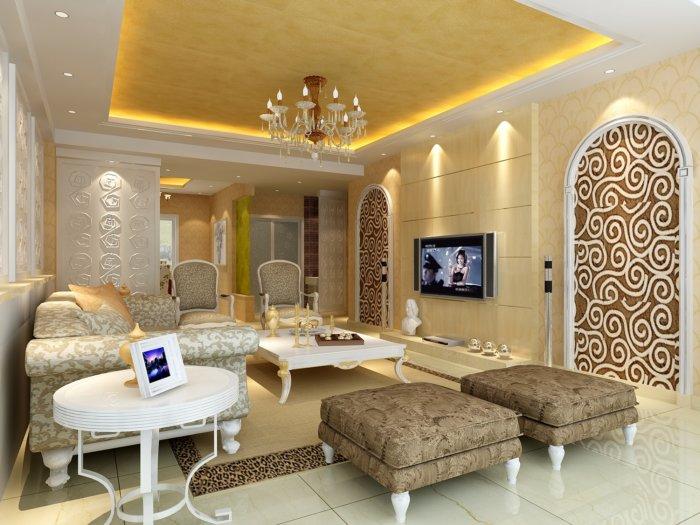 欧式家装客厅装修效果图-3d模型库-3d侠3d模型下载网