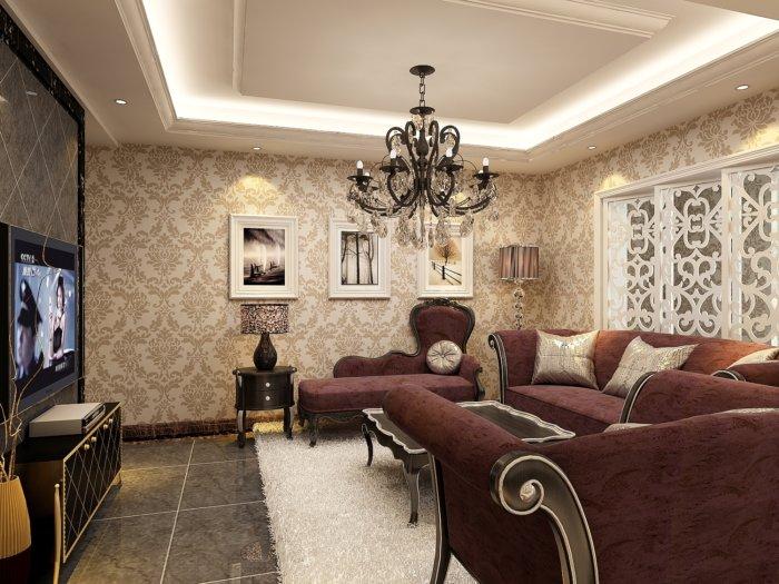 欧式客厅壁纸效果图渲染效果图片