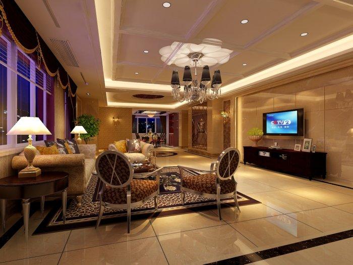 欧式客厅装饰设计3d模型渲染效果图片