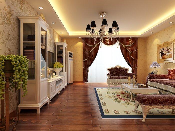 欧式客厅装修效果图渲染效果图片