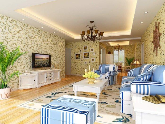传统中式客厅 效果图素材免费下载,本作品主题是田园客厅壁纸效果图