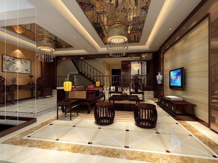 新中式客厅效果图-3d模型库-3d侠3d模型下载网