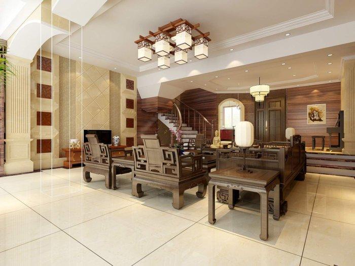 中式客厅别墅效果图