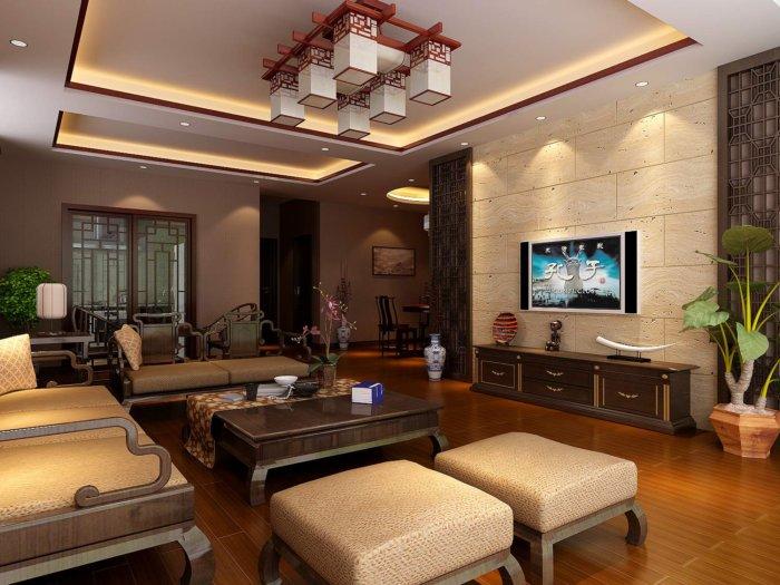 中式客厅装修图渲染效果图片