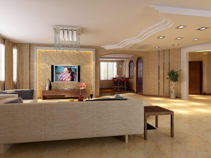 3d客厅吊顶设计效果图渲染效果图片高清图片
