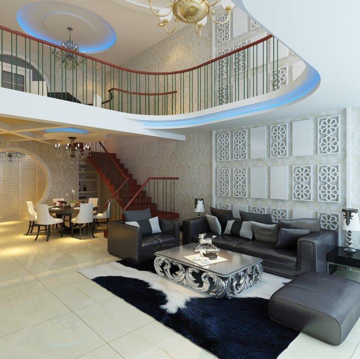 别墅客厅沙发背景效果图
