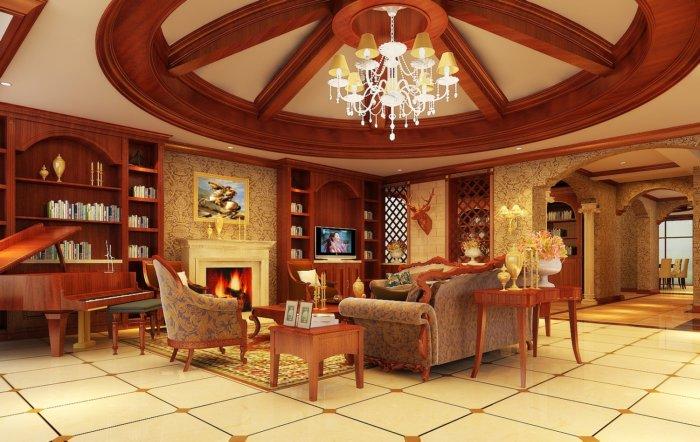 古典欧式客厅吊顶效果图-3d模型库-3d侠3d模型下载网