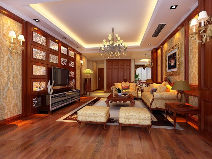 古典欧式沙发背景墙效果图-3d模型库-3d侠3d模型下载