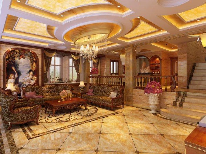 豪华欧式别墅客厅设计效果图