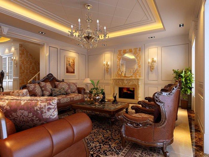 豪华欧式别墅客厅装修设计效果图
