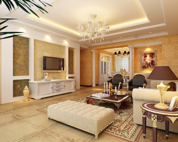 家装客厅电视柜效果图渲染效果图片
