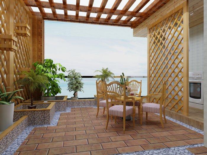 阳台休闲区装修设计渲染效果图片