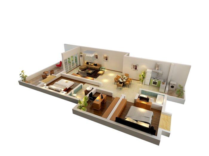 整套户型效果图3d模型下载-3d模型库-3d侠3d模型下载