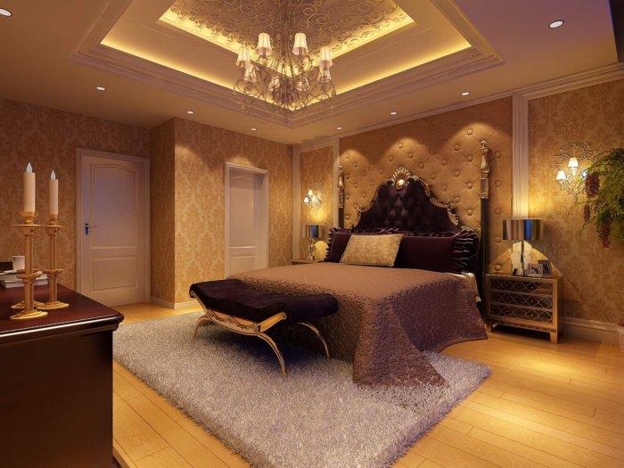 豪华欧式卧室效果图渲染效果图片