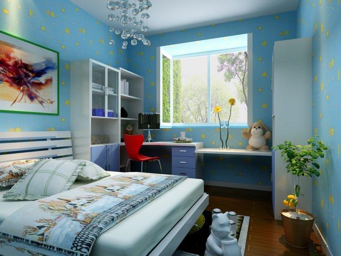 蓝色儿童房装修-3d模型库-3d侠3d模型下载网