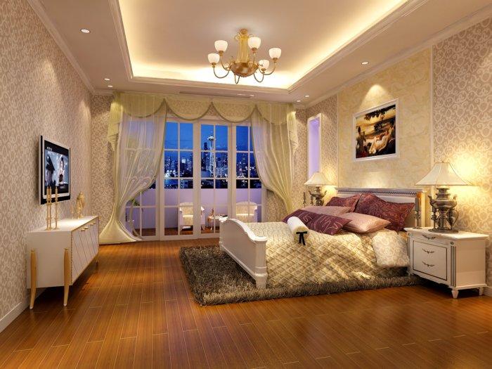 欧式卧室壁纸渲染效果图片