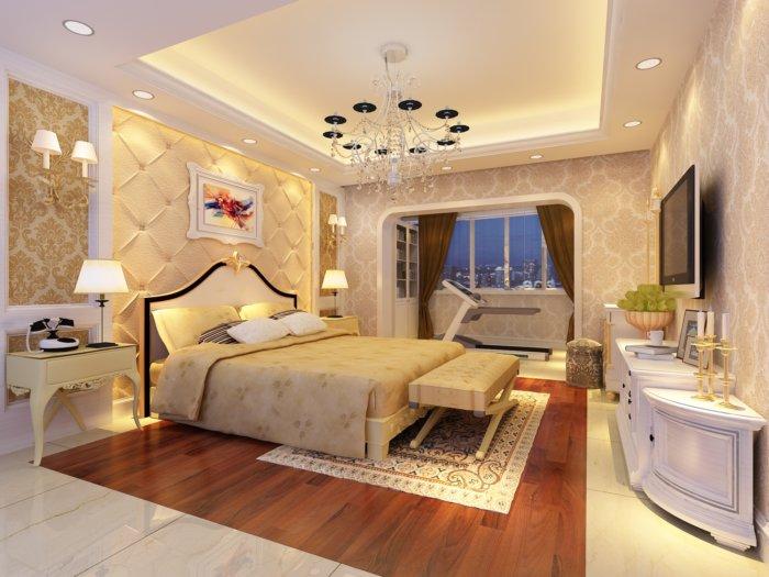现代欧式卧室背景墙效果图