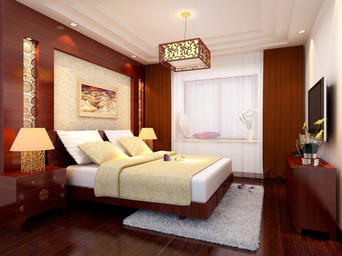 新中式臥室效果圖渲染效果圖片